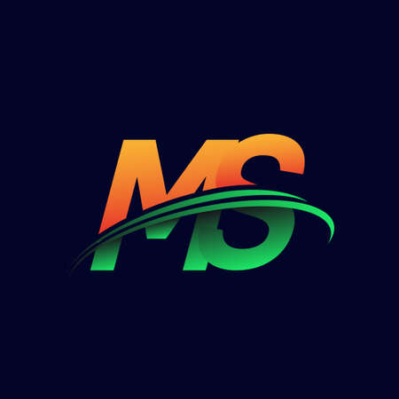 initial logo MS company name colored orange and green swoosh design, isolated on dark background. vector logo for business and company identity.