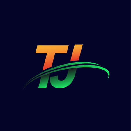 initial logo TJ company name colored orange and green swoosh design, isolated on dark background. vector logo for business and company identity.