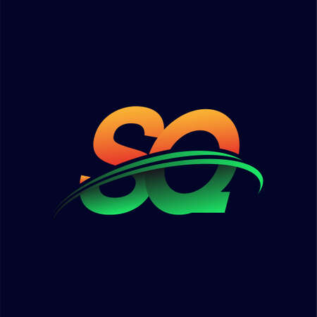 initial logo SQ company name colored orange and green swoosh design, isolated on dark background. vector logo for business and company identity.