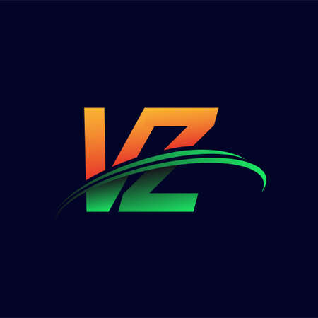 initial logo VZ company name colored orange and green swoosh design, isolated on dark background. vector logo for business and company identity.