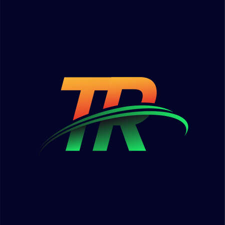initial logo TR company name colored orange and green swoosh design, isolated on dark background. vector logo for business and company identity.