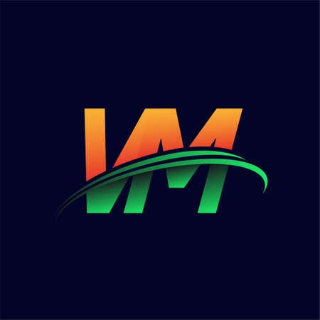 initial logo VM company name colored orange and green swoosh design, isolated on dark background. vector logo for business and company identity.