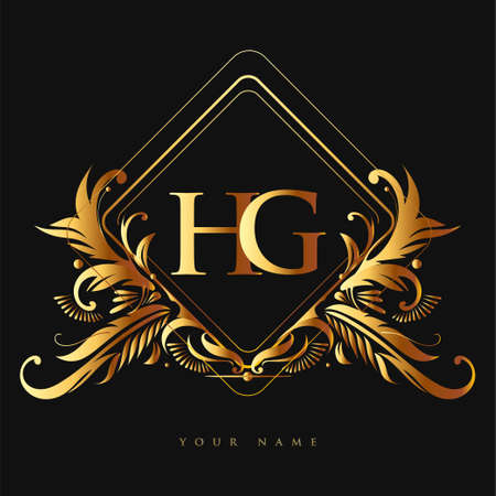 Initial logo letter HG with golden color with ornaments and classic pattern, vector logo for business and company identity.
