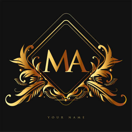 Initial logo letter MA with golden color with ornaments and classic pattern, vector logo for business and company identity.