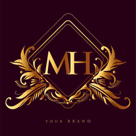 Initial logo letter MH with golden color with ornaments and classic pattern, vector logo for business and company identity.