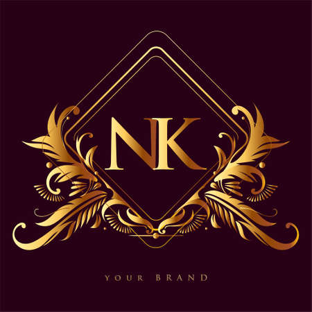 Initial logo letter NK with golden color with ornaments and classic pattern, vector logo for business and company identity.