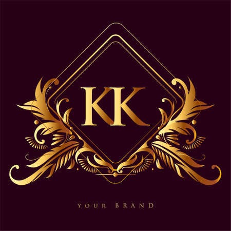 Initial logo letter KK with golden color with ornaments and classic pattern, vector logo for business and company identity.