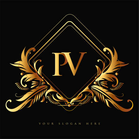 Initial logo letter PV with golden color with ornaments and classic pattern, vector logo for business and company identity.