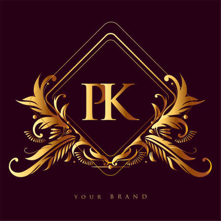 Initial logo letter PK with golden color with ornaments and classic pattern, vector logo for business and company identity.