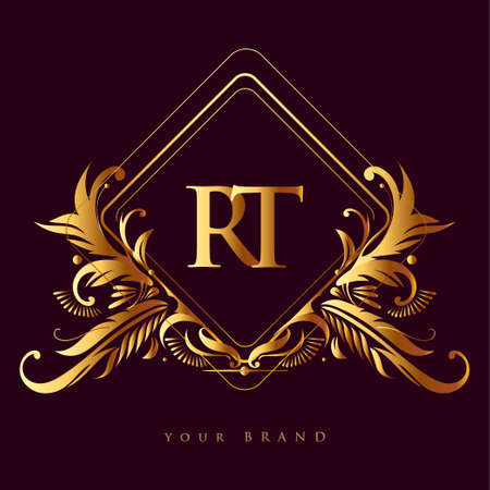 Initial logo letter RT with golden color with ornaments and classic pattern, vector logo for business and company identity.