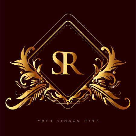 Initial logo letter SR with golden color with ornaments and classic pattern, vector logo for business and company identity.