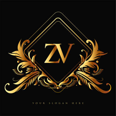 Initial logo letter ZV with golden color with ornaments and classic pattern, vector logo for business and company identity.