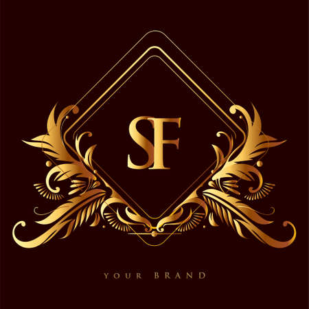 Initial logo letter SF with golden color with ornaments and classic pattern, vector logo for business and company identity. Logó