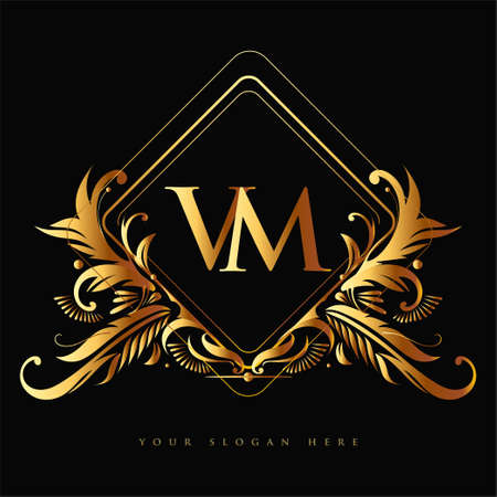 Initial logo letter VM with golden color with ornaments and classic pattern, vector logo for business and company identity.