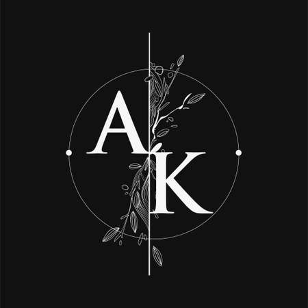Letter AK Initial Logo with Hand Draw Floral, Initial Wedding Font Logo with Circle and Flowers.