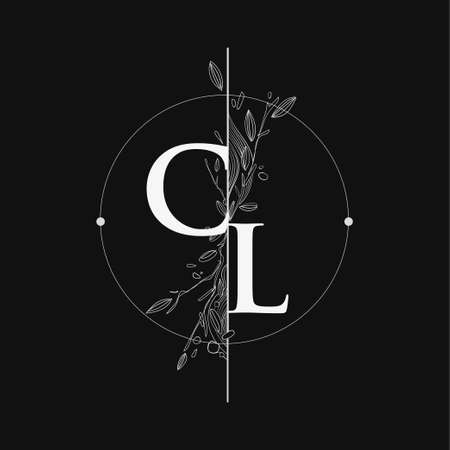 Letter CL Initial Logo with Hand Draw Floral, Initial Wedding Font Logo with Circle and Flowers. Logó