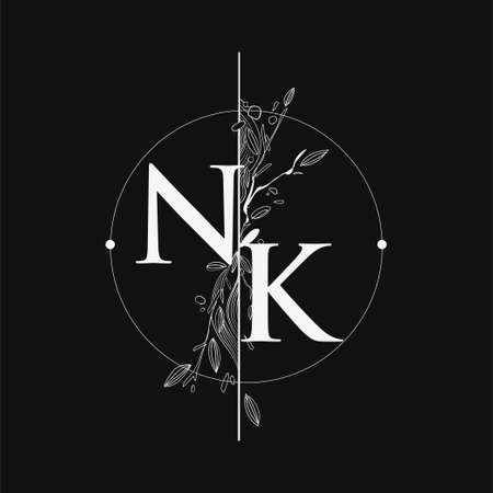 Letter NK Initial Logo with Hand Draw Floral, Initial Wedding Font Logo with Circle and Flowers. Ilustração
