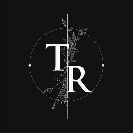 Letter TR Initial Logo with Hand Draw Floral, Initial Wedding Font Logo with Circle and Flowers.