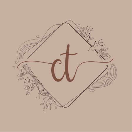 Letter CT Initial Logo with Hand Draw Floral, Initial Wedding Font Logo And Business or Company Identity.