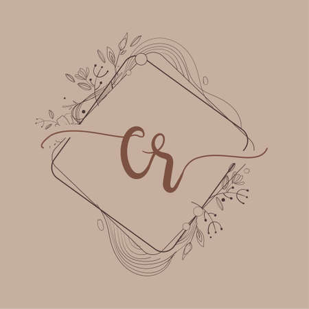 Letter CR Initial Logo with Hand Draw Floral, Initial Wedding Font Logo And Business or Company Identity.