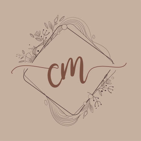 Letter CM Initial Logo with Hand Draw Floral, Initial Wedding Font Logo And Business or Company Identity.