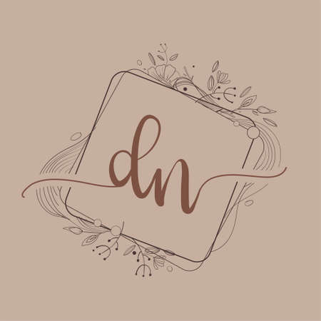 Letter DN Initial Logo with Hand Draw Floral, Initial Wedding Font Logo And Business or Company Identity. Logo