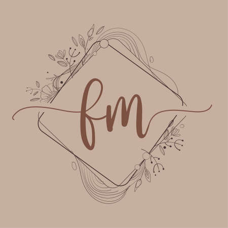 Letter FM Initial Logo with Hand Draw Floral, Initial Wedding Font Logo And Business or Company Identity.