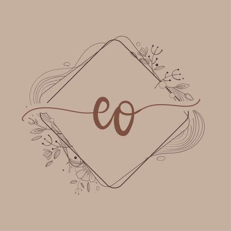 Letter EO Initial Logo with Hand Draw Floral, Initial Wedding Font Logo And Business or Company Identity.