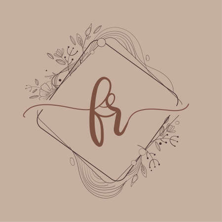Letter FR Initial Logo with Hand Draw Floral, Initial Wedding Font Logo And Business or Company Identity.