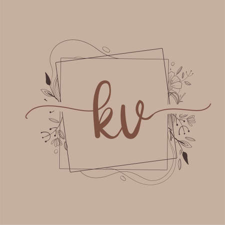Letter KV Initial Logo with Hand Draw Floral, Initial Wedding Font Logo And Business or Company Identity. Logó