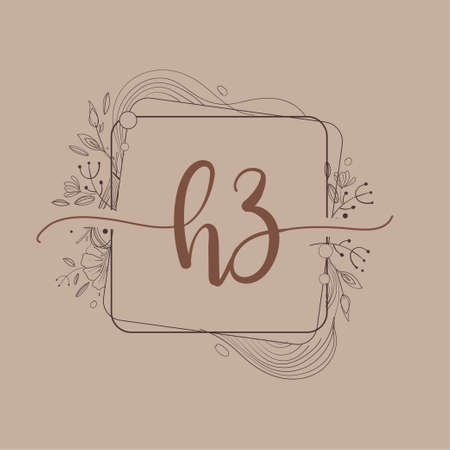 Letter HZ Initial Logo with Hand Draw Floral, Initial Wedding Font Logo And Business or Company Identity. Logó