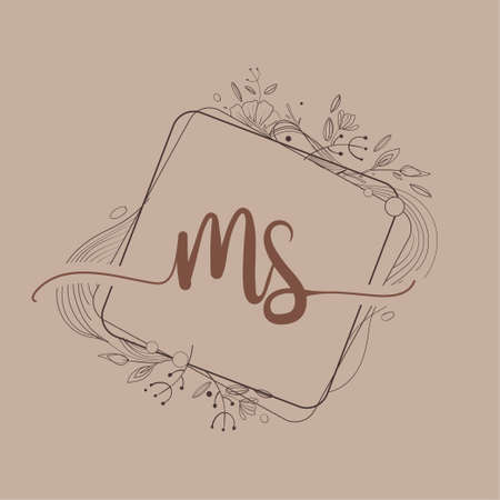 Letter MS Initial Logo with Hand Draw Floral, Initial Wedding Font Logo And Business or Company Identity.