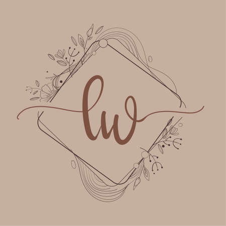 Letter LW Initial Logo with Hand Draw Floral, Initial Wedding Font Logo And Business or Company Identity.