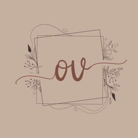Letter OV Initial Logo with Hand Draw Floral, Initial Wedding Font Logo And Business or Company Identity.