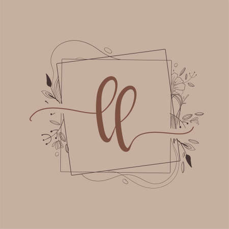 Letter LL Initial Logo with Hand Draw Floral, Initial Wedding Font Logo And Business or Company Identity.