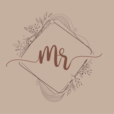 Letter MR Initial Logo with Hand Draw Floral, Initial Wedding Font Logo And Business or Company Identity.