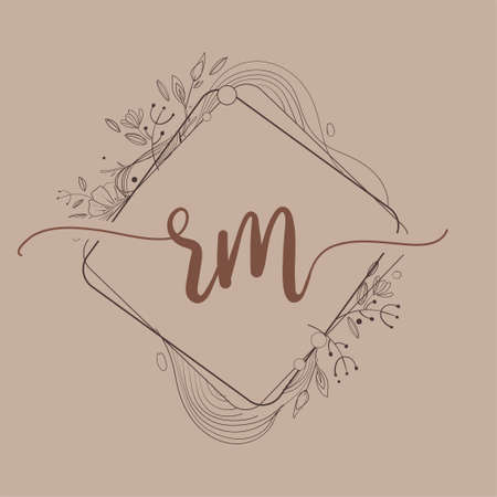 Letter RM Initial Logo with Hand Draw Floral, Initial Wedding Font Logo And Business or Company Identity.