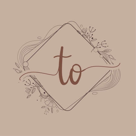 Letter TO Initial Logo with Hand Draw Floral, Initial Wedding Font Logo And Business or Company Identity.