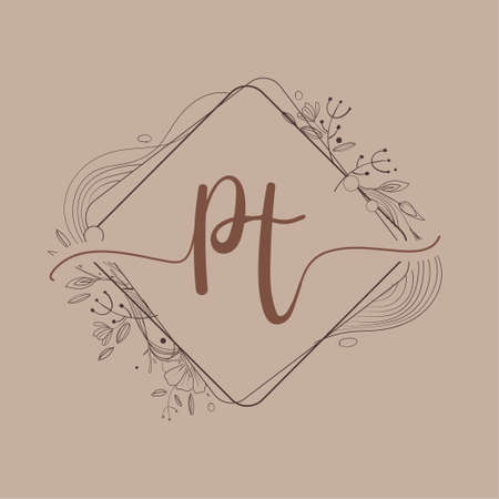 Letter PT Initial Logo with Hand Draw Floral, Initial Wedding Font Logo And Business or Company Identity.