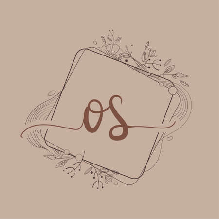 Letter OS Initial Logo with Hand Draw Floral, Initial Wedding Font Logo And Business or Company Identity.