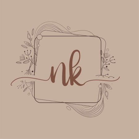 Letter NK Initial Logo with Hand Draw Floral, Initial Wedding Font Logo And Business or Company Identity.
