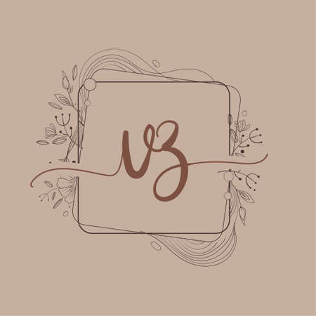 Letter VZ Initial Logo with Hand Draw Floral, Initial Wedding Font Logo And Business or Company Identity. Logó
