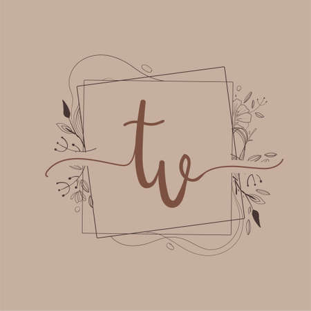 Letter TV Initial Logo with Hand Draw Floral, Initial Wedding Font Logo And Business or Company Identity.