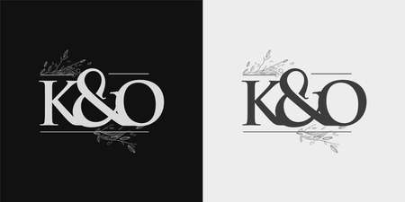 KO Initial logo, Ampersand initial Logo with Hand Draw Floral, Initial Wedding Font Logo Isolated on Black and White Background.