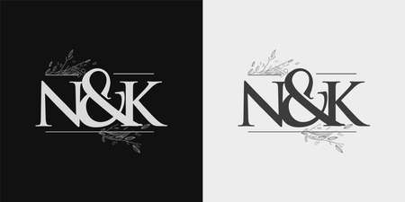 NK Initial logo, Ampersand initial Logo with Hand Draw Floral, Initial Wedding Font Logo Isolated on Black and White Background.