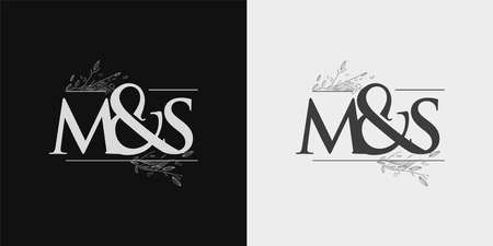 MS Initial logo, Ampersand initial Logo with Hand Draw Floral, Initial Wedding Font Logo Isolated on Black and White Background. 向量圖像