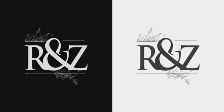 RZ Initial logo, Ampersand initial Logo with Hand Draw Floral, Initial Wedding Font Logo Isolated on Black and White Background.