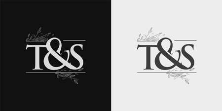 TS Initial logo, Ampersand initial Logo with Hand Draw Floral, Initial Wedding Font Logo Isolated on Black and White Background. Logó