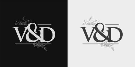 VD Initial logo, Ampersand initial Logo with Hand Draw Floral, Initial Wedding Font Logo Isolated on Black and White Background. Logó