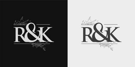 RK Initial logo, Ampersand initial Logo with Hand Draw Floral, Initial Wedding Font Logo Isolated on Black and White Background.